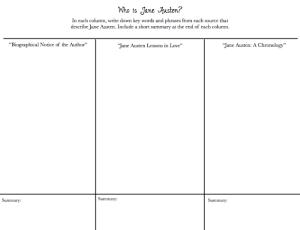 Who is Jane Austen? Graphic Organizer