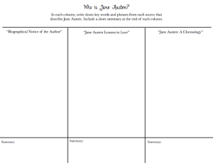 Who is Jane Austen? Graphic Organizer
